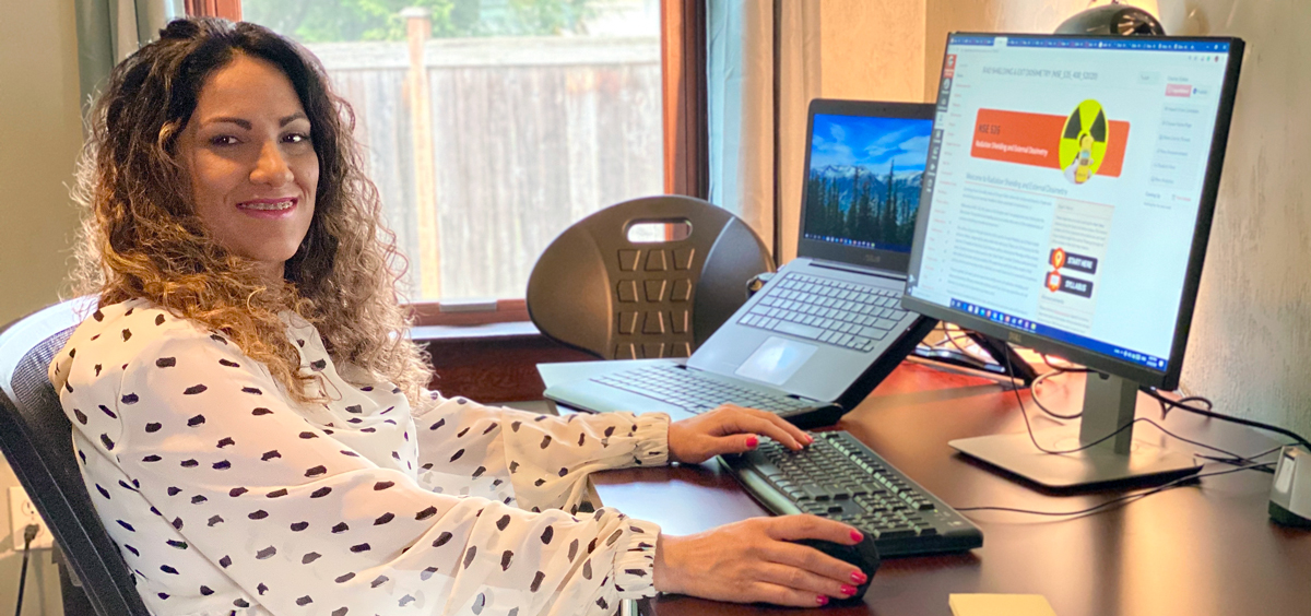 Lily Ranjbar, NSE director of online programs, works from her home office.