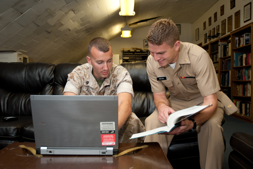 Military students studying