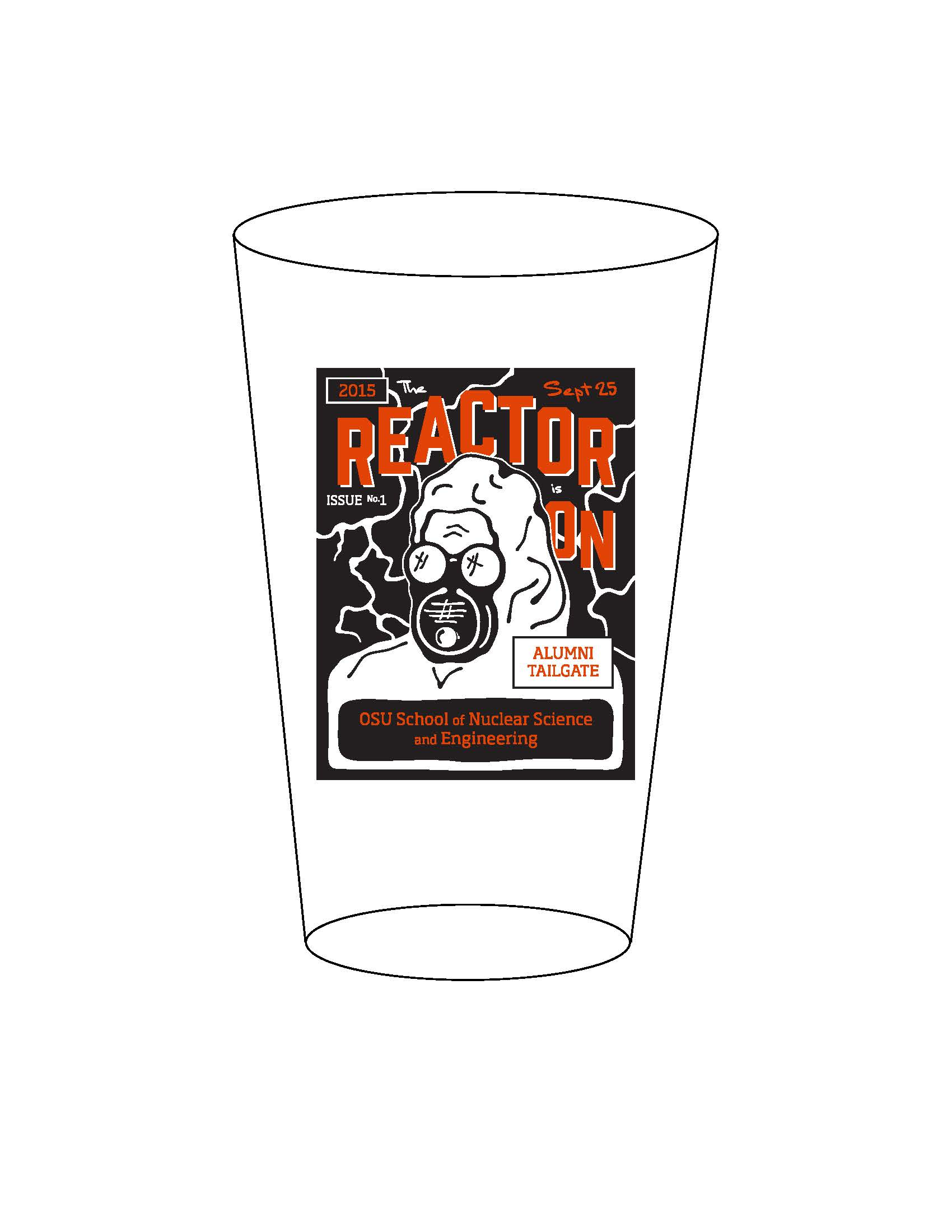 pint glass with illustration of reactor man
