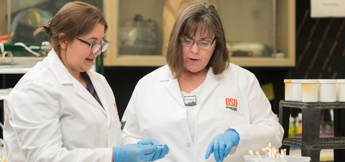 Professor Kathryn Higley (right) teaches online and on-campus courses at Oregon State.
